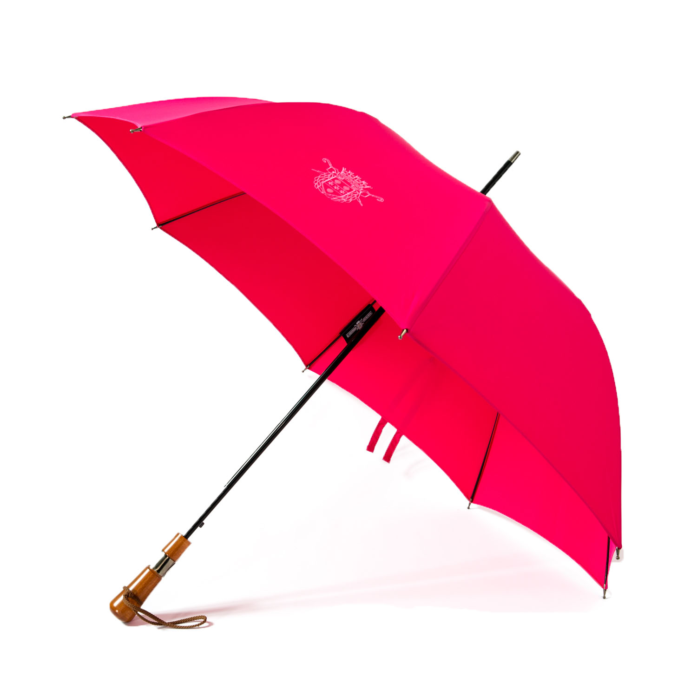 Le parapluie de Cherbourg L'Antibourrasque poignée droite en charme du jura, couleur fushia, finitions canon de fusil, ouvert