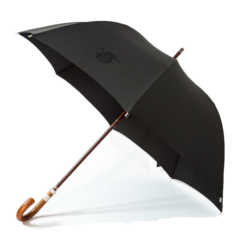 Le parapluie de cherbourg, modèle le Pébroque noir, ouvert, poignée courbe en jonc, finitions palladium brossé