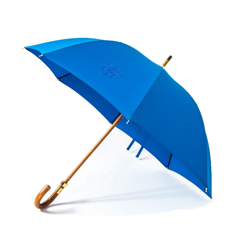Le parapluie de cherbourg le Demoiselle bleu océan, poignée courbe en jonc, finitions or fin 18 carats, ouvert
