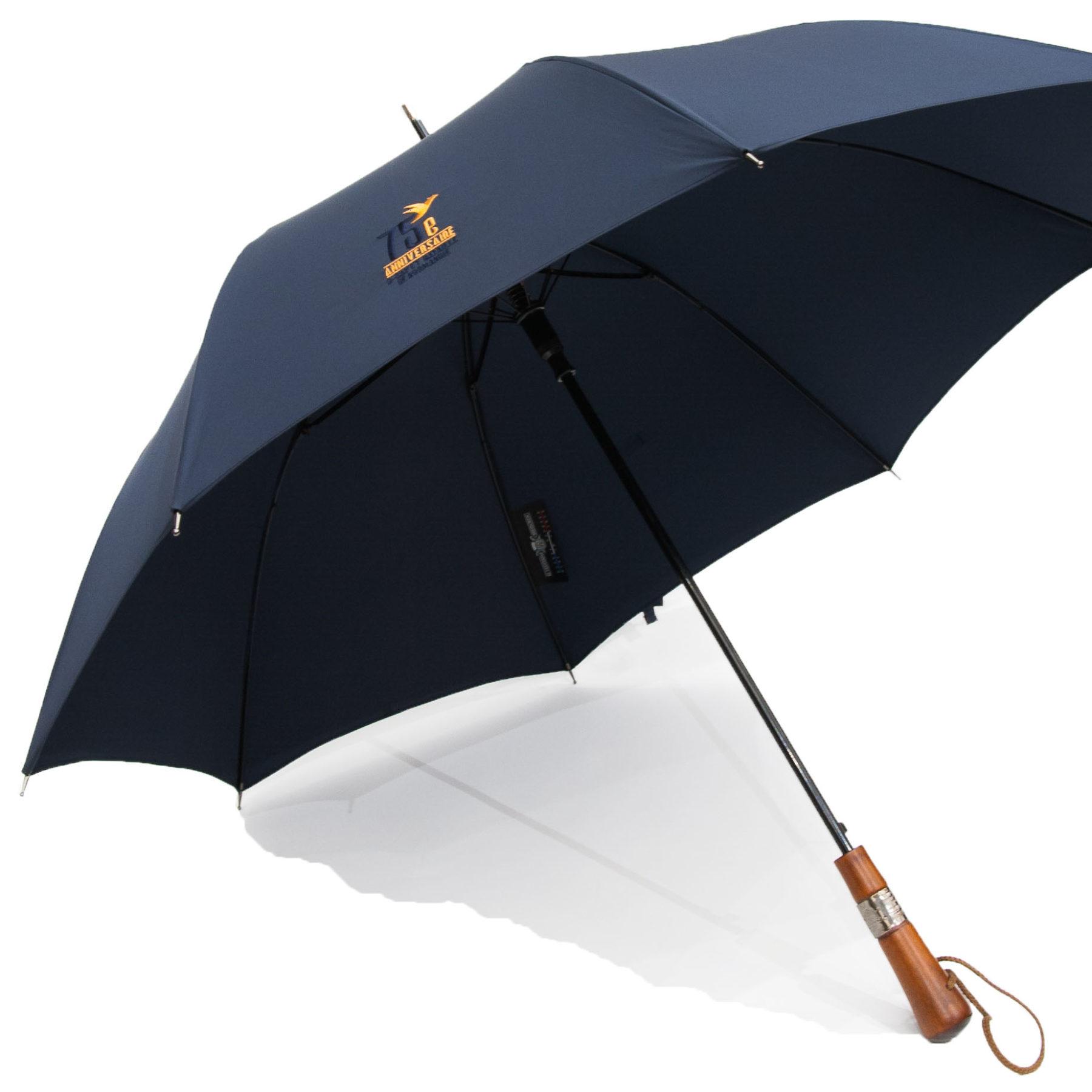Parapluie antibourrasque collector 75e D-DAY - Navy - poignée droite- charme du jura - brodé 75e anniversaire D-DAY